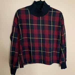 Zara High Neck Turtleneck Plaid Shirt Size XS